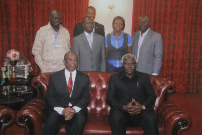 His Excellency the President of Sierra Leone with the Ghanaian entourage led by His Excellency the Ghana High Commissioner