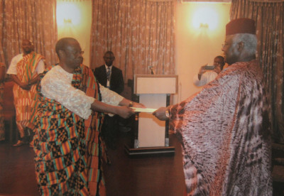 Presentation of Credentials by Major General Carl S. Modey (Rtd) Ghana High Commissioner to Sierra Leone