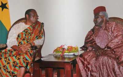 His Excellency Ernest Bai Koroma in a discussion with His Excellency Major General Carl S. Modey (Rtd)