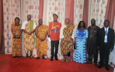 Home Based in a pose with His Excellency Major General Carl S. Modey (Rtd)