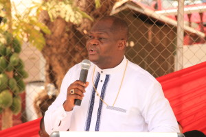 The Bishop for Action Chapel Sierra Leone delivering his exortation during a non-denominational religious thanks giving service featuring Christians and Muslims during Ghana's 59th independence celebration in Freetown