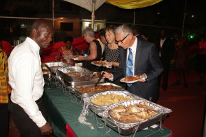 Cross section of diplomats and dignitaries treated to both continental and Ghanaian cuisines during a reception by the Ghana High Commissioner  during the celebration of Ghana's